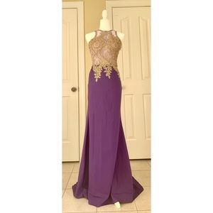 Purple Sparkly Long Formal Dress